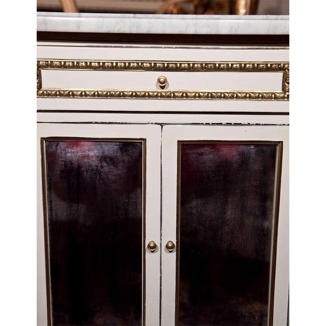 White Painted Marble-Top Cabinets by Jansen - Pair For Sale - Image 5 of 9