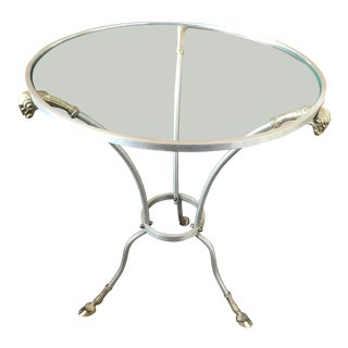 Rams Head Steel and Brass Gueridon Table For Sale