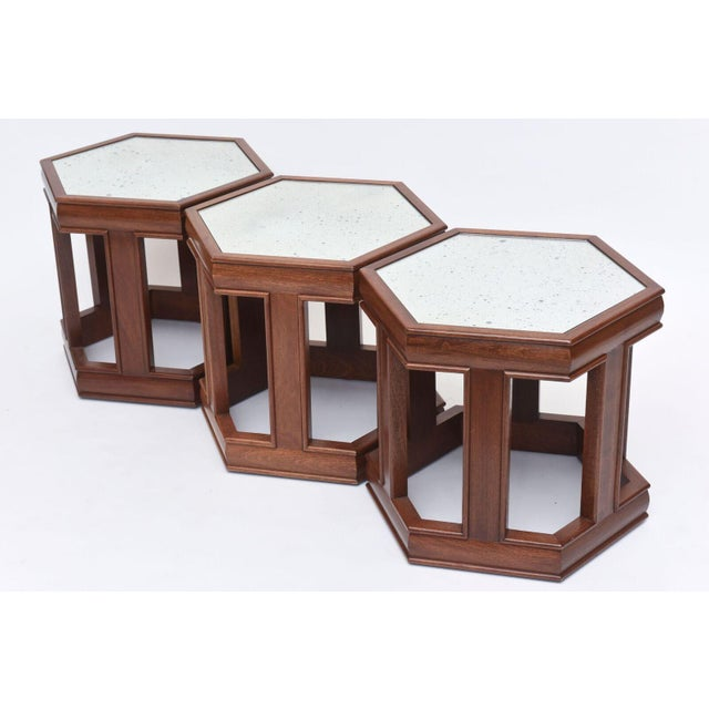 1960s Mahogany and Mirrored Occasional Tables For Sale - Image 5 of 9