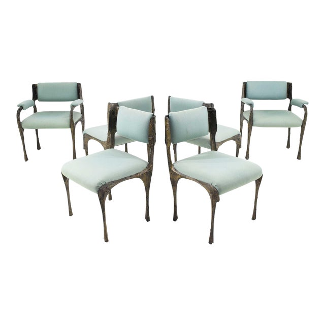 Set of Six Paul Evans Brutalist Sculpted Bronze and Resin Dining Chairs, 1972 - See Updated Listing W. New Upholstery For Sale