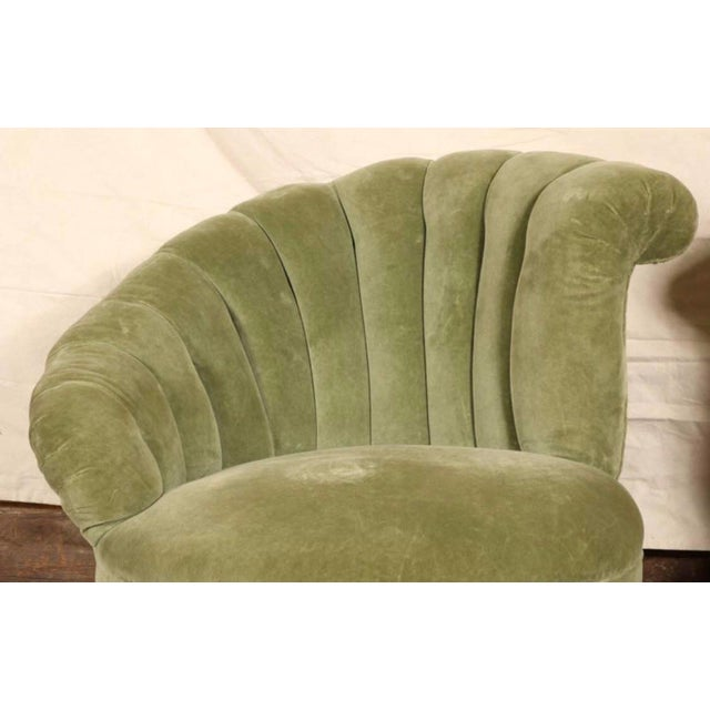Antique Hollywood Regency Velvet Club Chairs - a Pair For Sale - Image 4 of 7