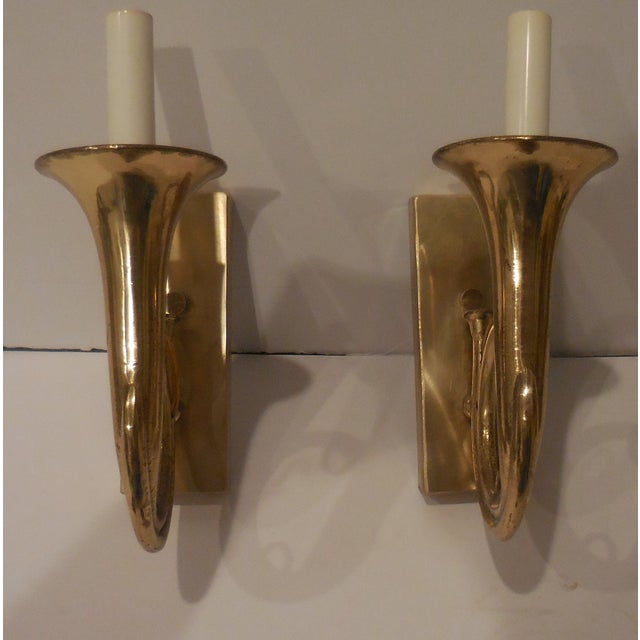Hollywood Regency Brass Musical Wall Sconces - A Pair For Sale - Image 3 of 11