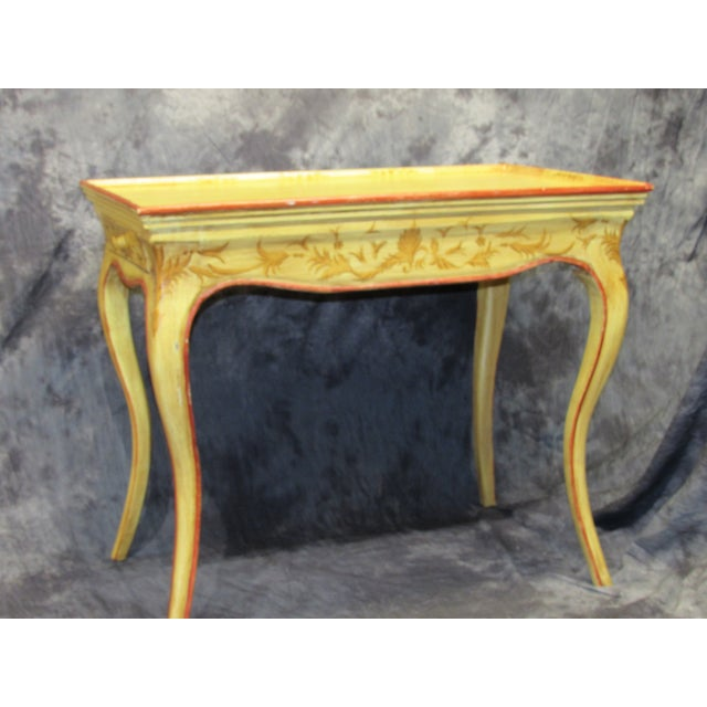 Vintage hand painted Italian end table. Beautiful crackle finish with hand painted details.