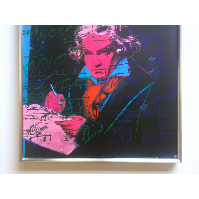 """Contemporary Andy Warhol Foundation Vintage 1992 Lithograph Print Framed Pop Art Poster """" Beethoven """" 1987 For Sale - Image 3 of 13"""