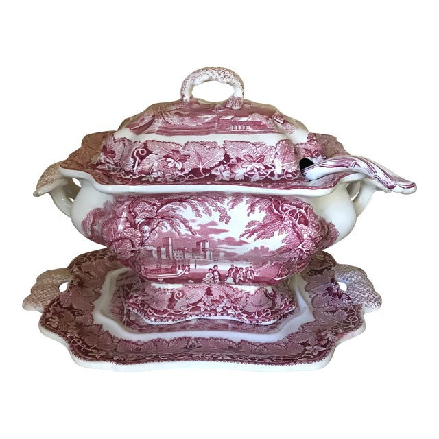 Masons Vista England Red Transferware Ironstone Tureen With Ladle and Underplate For Sale