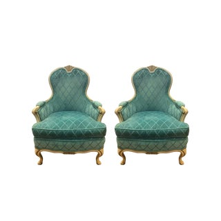 French Louis XV Cream Painted Carved Turquoise Bergere Armchairs - a Pair For Sale