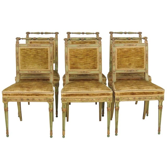 Paint Decorated Louis XVI Dining Chairs - Set of 6 - Image 1 of 7