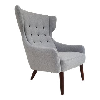 1960s Wool and Teak Danish Armchair For Sale