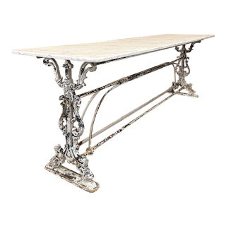 19th Century Painted Iron Sofa Table ~ Counter With Carrara Marble For Sale