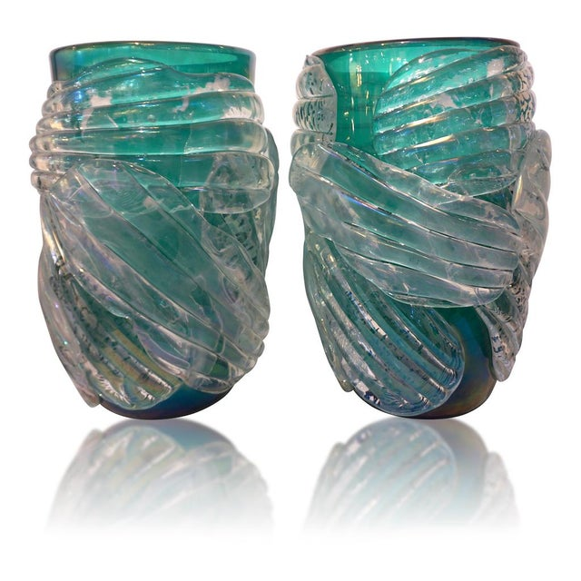 Italian Modern Iridescent Emerald Green Murano Glass Sculpture Vases - a Pair For Sale - Image 12 of 12