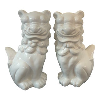 Chinoiserie Ceramic Large Foo Dogs - a Pair For Sale