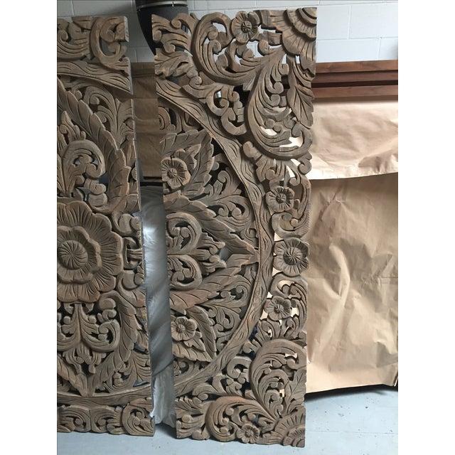 Floral Carved Wood Panels - Set of 3 - Image 3 of 8