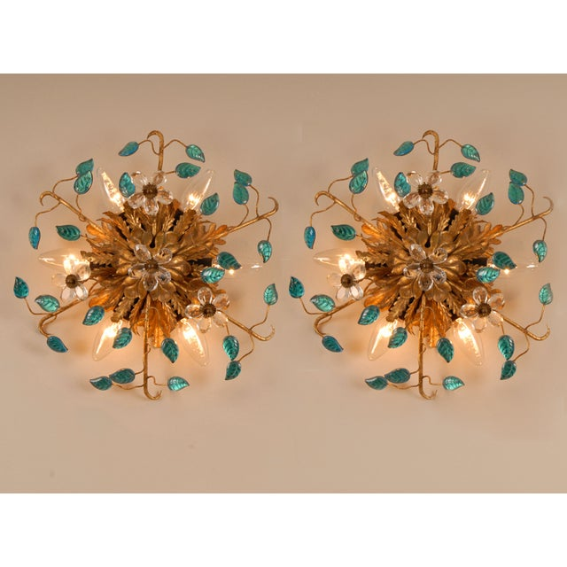 A pair sunburst sconces or flush mounts gold-leaf finish, blue Murano glass leaves and Bohemian crystal flowers Banci...