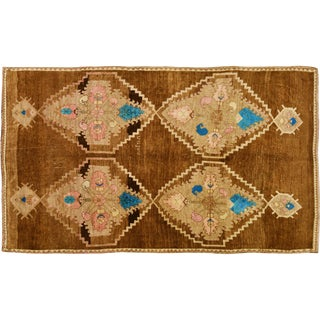 1950s Traditional Turkish Blue and Brown Wool Oushak Rug - 5'2''x9'