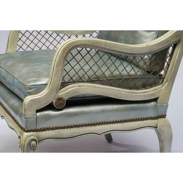 Pair of 1940s Carved and Lacquered Lounge Chairs with Blue Leather Upholstery - Image 6 of 7