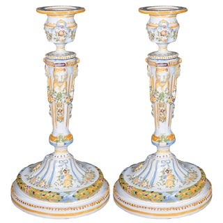 19th Century Vintage French Faience Candle Holders- A Pair For Sale