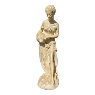Plaster Art Nouveau Standing Woman Statue For Sale