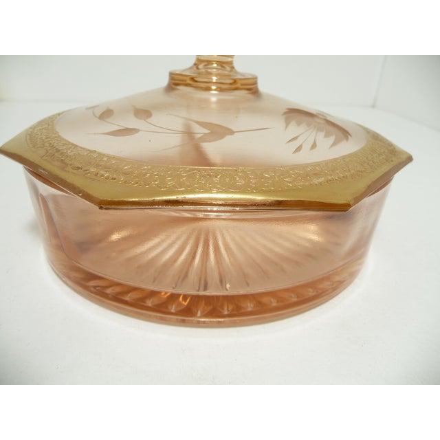 Vintage Fostoria Lidded Dish, Blush Pink - Image 4 of 9
