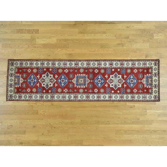 Wool Handmade Tribal Design Kazak Runner- 2′8″ × 9′9″ For Sale - Image 12 of 12