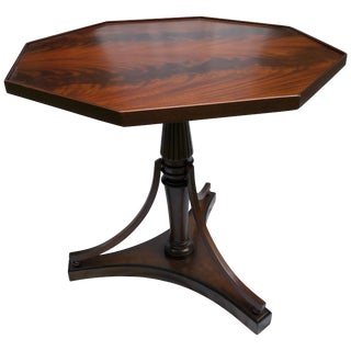 Crotch Mahogany Sheraton-Style Octagonal Table For Sale