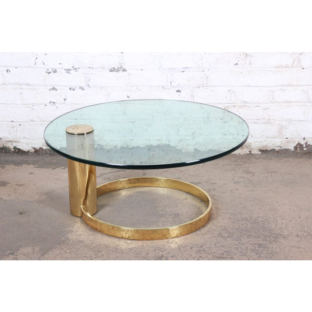 Leon Rosen for Pace Collection Cantilevered Brass and Glass Coffee Table For Sale In South Bend - Image 6 of 9