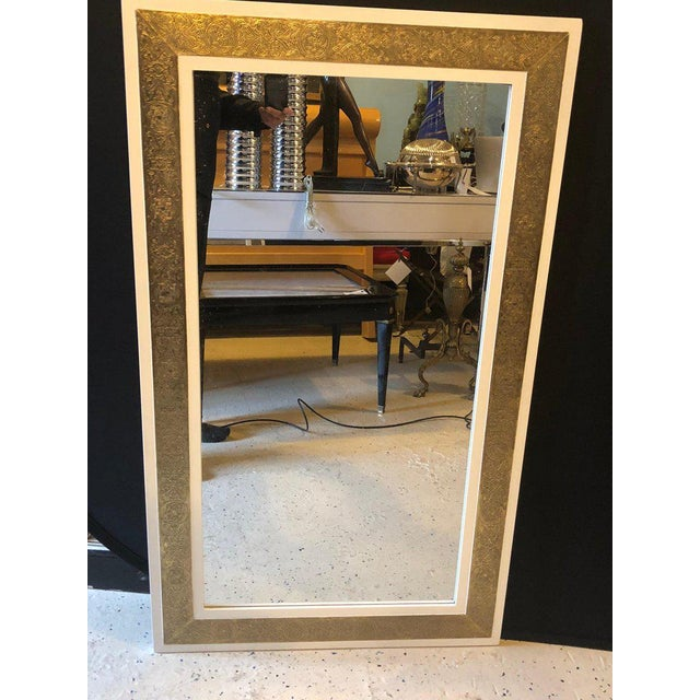 1990s 1900s Hollywood Regency Brass on Wood Frame in White Wall Mirrors - a Pair For Sale - Image 5 of 9
