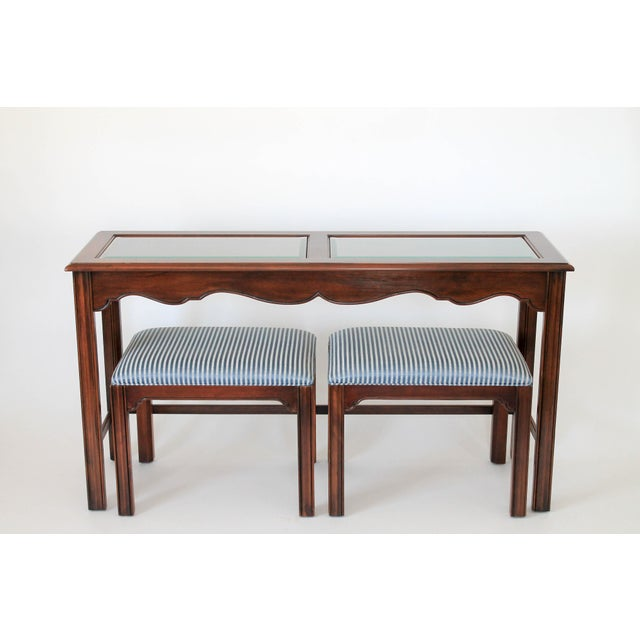 Console or sofa table with upholstered benches by Drexel Heritage Furnishings. Some wear to wood (pictured). Benches,...