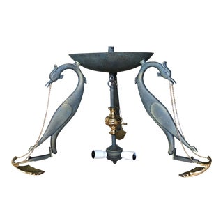 1920s Verdigris Swans Chandelier With Brass Art Deco Details For Sale