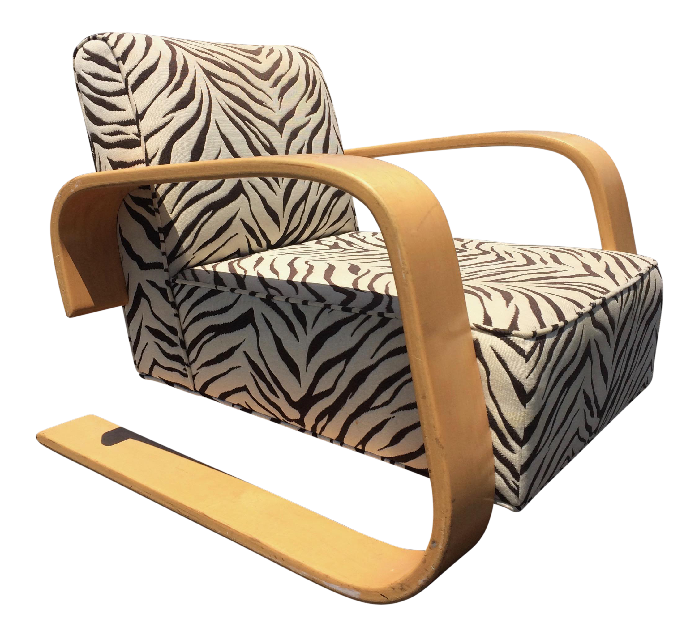 Charmant Mid Century Zebra Lounge Chair