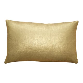 Tuscany Linen Gold Metallic 12x20 Pillow For Sale