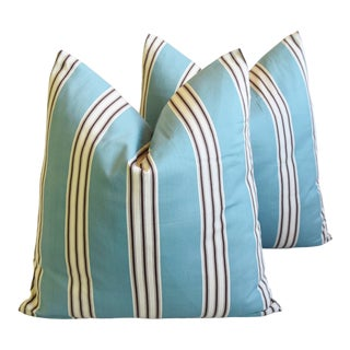 """French Aqua-Blue Striped Feather/Down Pillows 24"""" Square - Pair For Sale"""