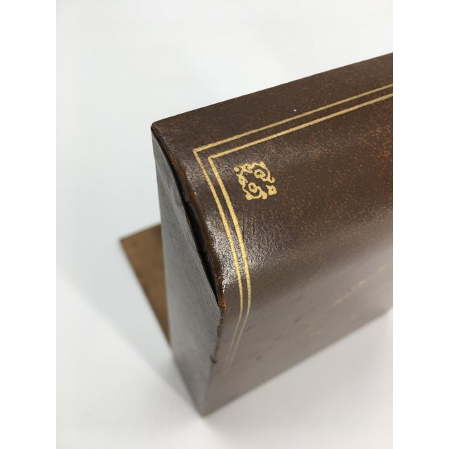 Mid-Century Modern Vintage Mid 20th Century Faux Leather Bookends - a Pair For Sale - Image 3 of 8