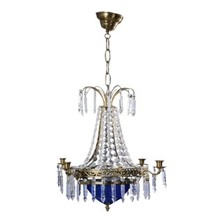 1900's Swedish Crystal Chandelier With Blue Glass Bowl For Sale