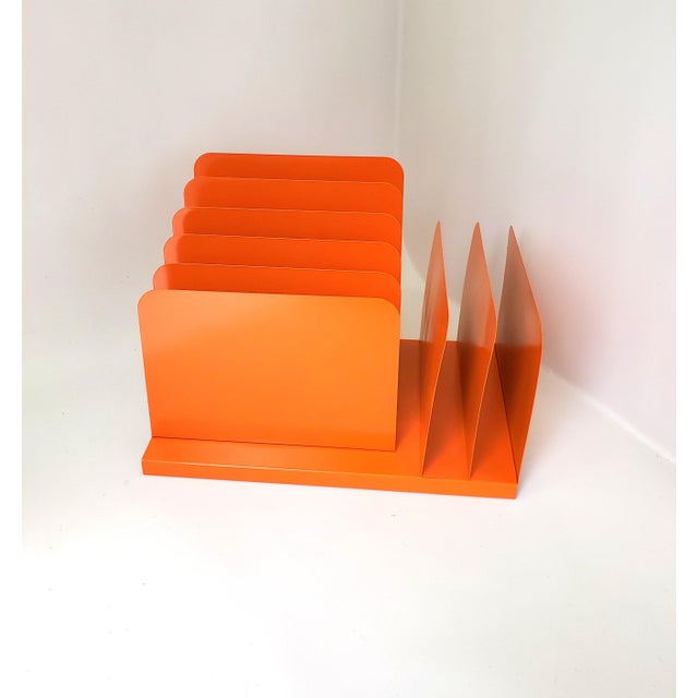 Desk Office Organizer Mail Sorter Letter Holder Orange Decor Inbox Bill Slot File Box Metal Desktop Filing System Home...