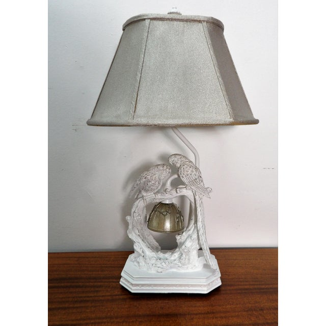 Parakeet Lamp in White Lacquer With Multiple Setting Lights With Silver Shade For Sale - Image 11 of 11