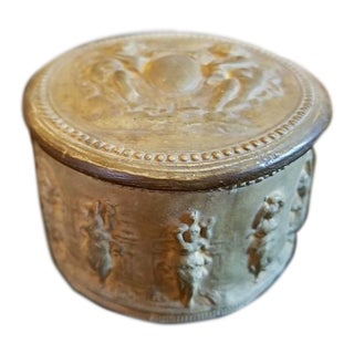 19c Italian Signa Terracotta Lidded Jar For Sale