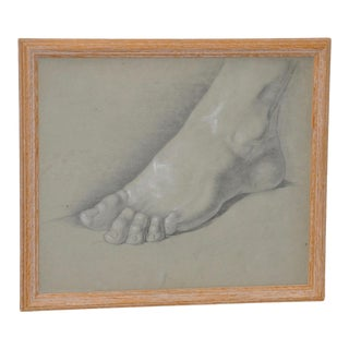 1960's Vintage Graphite Study of a Right Foot For Sale
