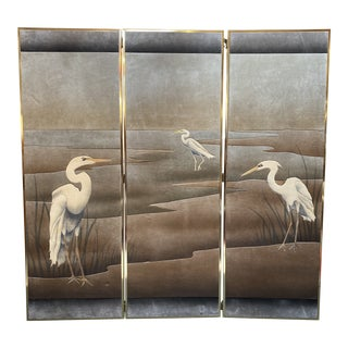 Late 20th Century Crane Suede + Brass Three Panel Screen For Sale