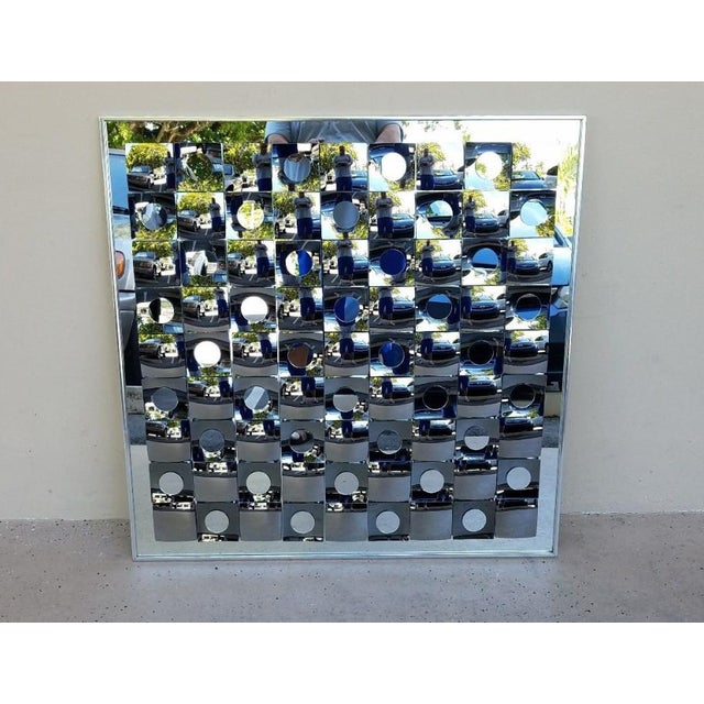 1970s Hal Bienenfeld Op Art Circle Within Squares Mirror For Sale - Image 5 of 7