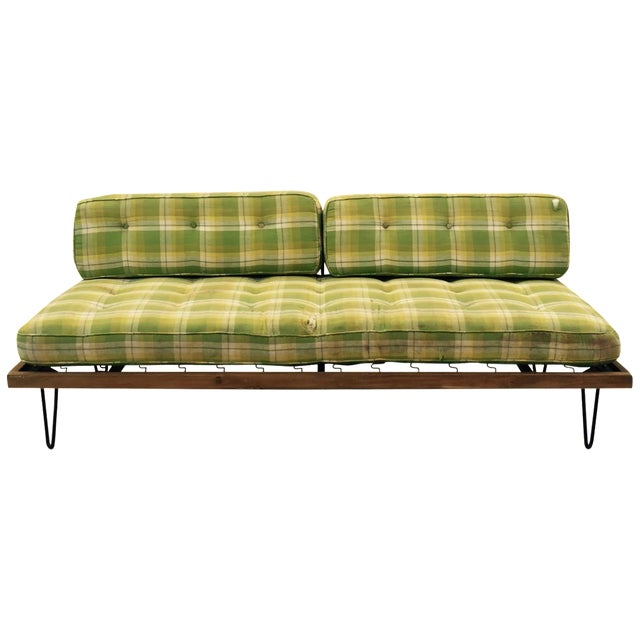 Mid-Century Madras Daybed with Metal Hairpin Legs For Sale