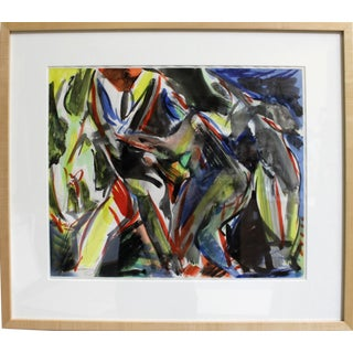 Framed, Abstract Watercolor on Paper by Artist Jacques Lamy For Sale