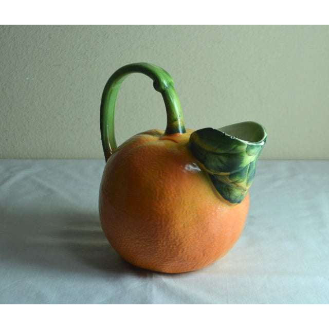 Americana Ancora Italy Hand Painted Orange Shaped Pitcher For Sale - Image 3 of 7