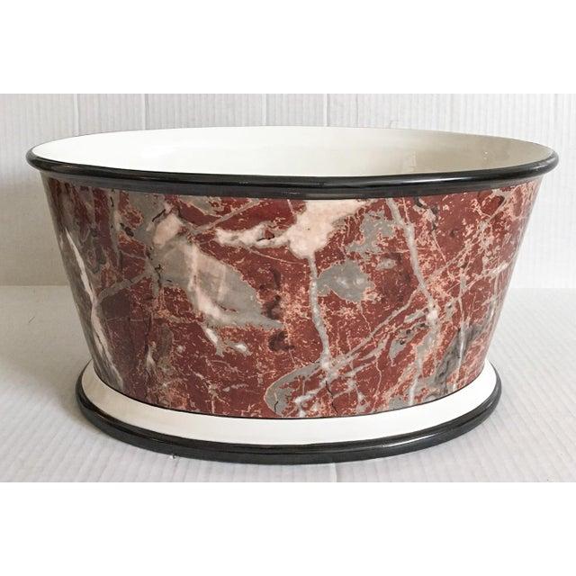 Large Italian Marbleized Ceramic Jardinere Planter - Image 2 of 9