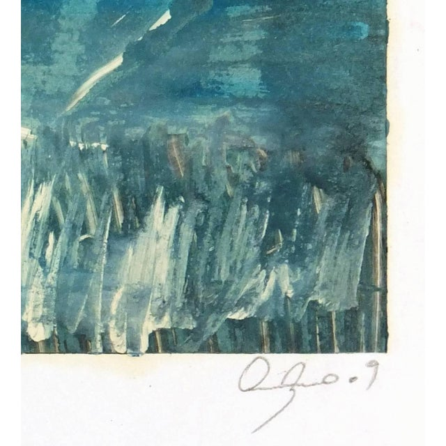 """Abstract painting titled """"Mar y Cielo"""" by artist Oscar Arturo, 2009. Signed lower right. Title center. Original artwork on..."""