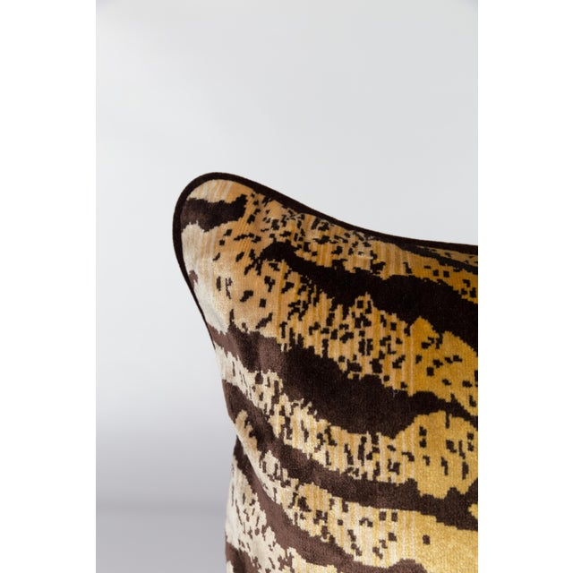Custom lumbar pillow made from silk, cotton, and velvet blend fabric. Tiger print on front with a coordinating chocolate-...
