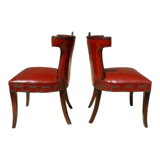 40's Klismos Dorothy Draper Style Hollywood Regency Red Leather and Brass Tack Chairs -A Pair- P For Sale