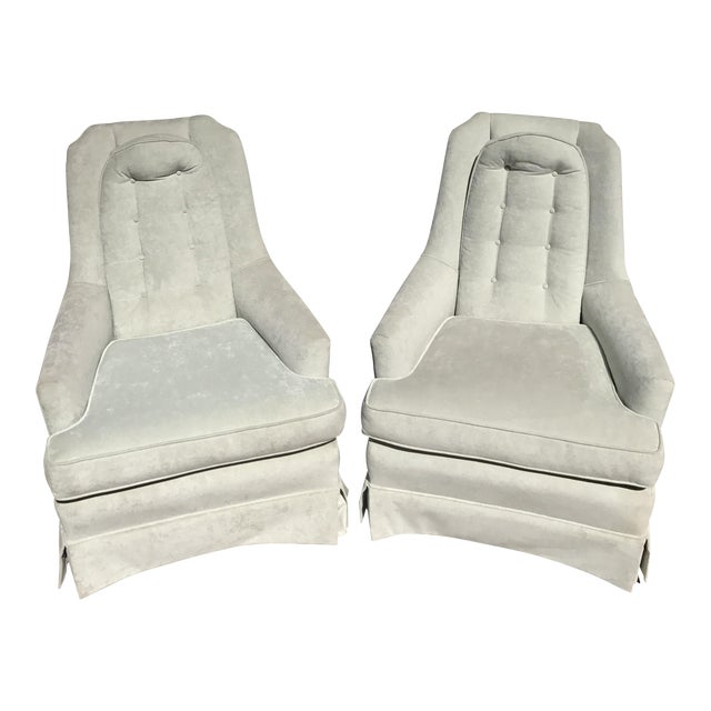 Pale Green Skirted Chairs - A Pair - Image 1 of 4