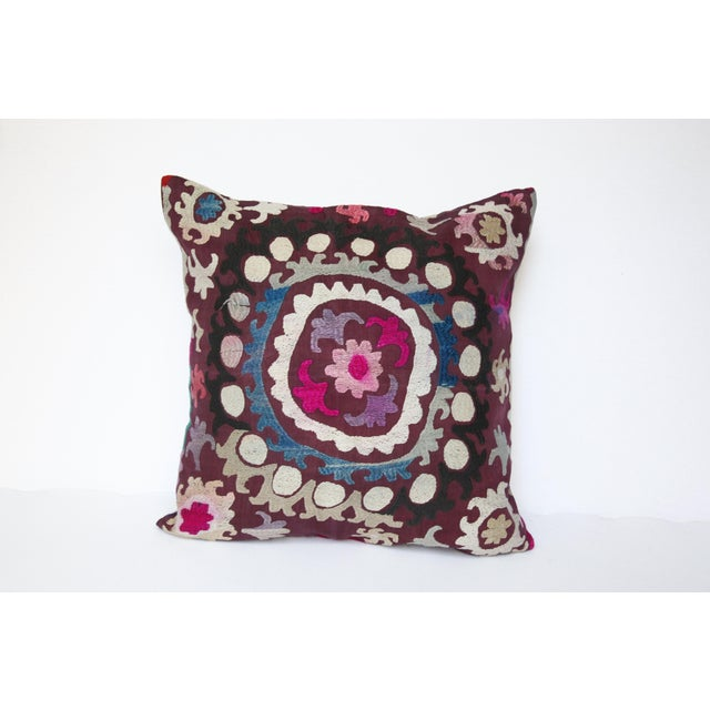 Vintage Handmade Needlework Suzani Throw Pillow Cover For Sale - Image 13 of 13