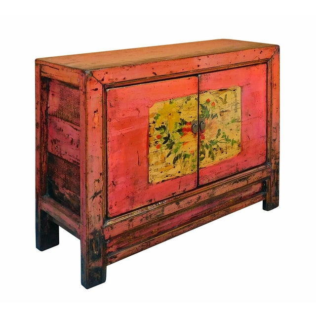 Distressed Chinese Pink Floral Console Cabinet - Image 3 of 8