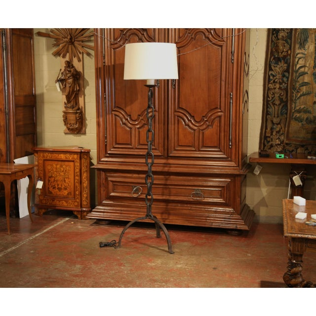Black Tall 19th Century French Black Forged Iron Anchor Rope Floor Lamp For Sale - Image 8 of 12